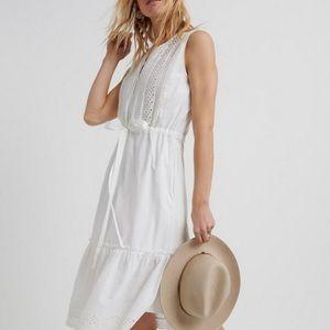 NWT XS Lucky Brand White Sophia Midi Dress